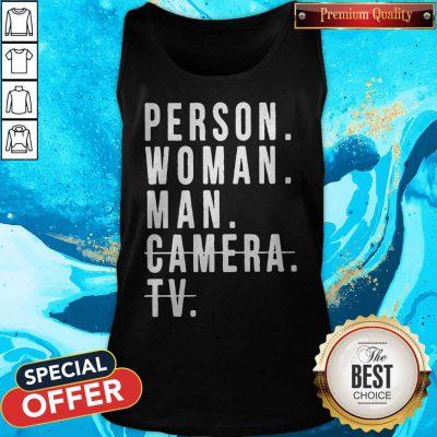 Person Woman Man Camera TV Trump Cognitive Test Tank Top
