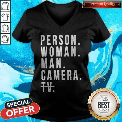 Person Woman Man Camera TV Trump Cognitive Test V-neck
