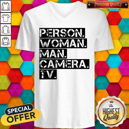 Person Women Man Camera TV Anti Trump V-neck