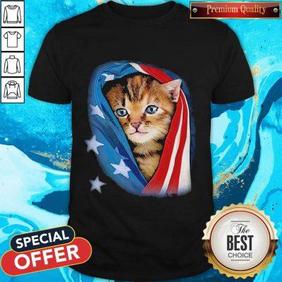 Cute American Flag Cat Shirt