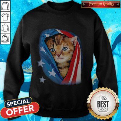 Cute American Flag Cat Sweatshirt