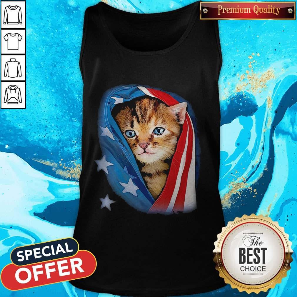 Cute American Flag Cat Tank Top