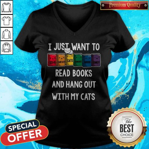 Colorful I Just Want To Read Books And Hang Out With My Cats V-neck