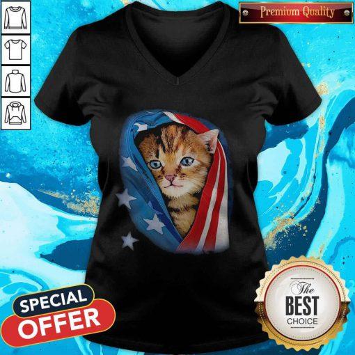 Cute American Flag Cat V-neck