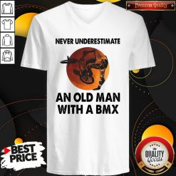 Cute Never Underestimate An Old Man With A Bmx V-neck