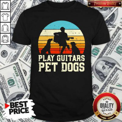 Cute Play Guitars Pet Dogs Vintage Retro Shirt
