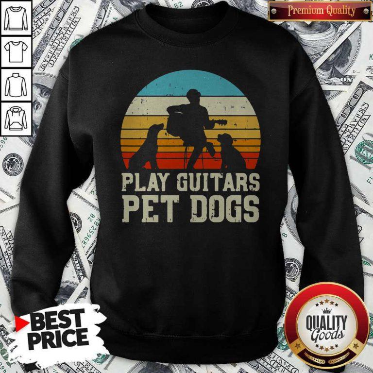 Cute Play Guitars Pet Dogs Vintage Retro Sweatshirt