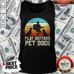Cute Play Guitars Pet Dogs Vintage Retro Tank-top