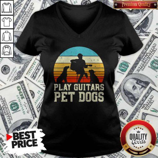 Cute Play Guitars Pet Dogs Vintage Retro V-neck
