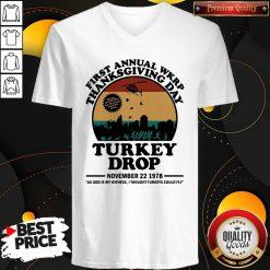 First Annual Wkrp Thanksgiving Day Turkey Drop November 22 1978 Vintage V-neck