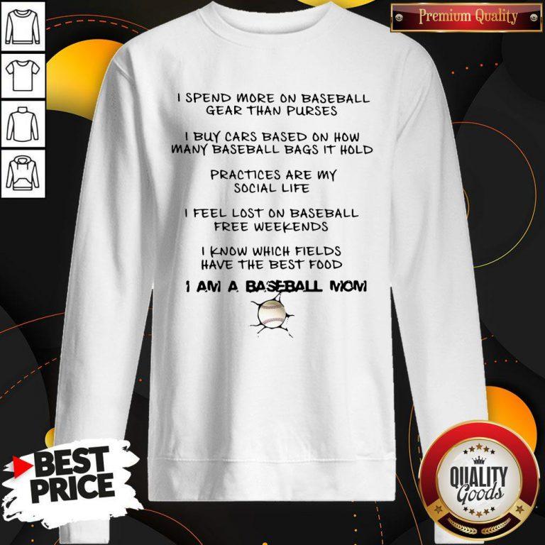 Nice I Am A Baseball Mom Sweatshirt
