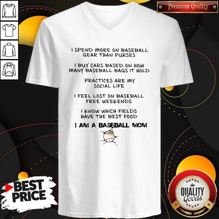 Nice I Am A Baseball Mom V-neck