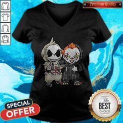 Jack Skellington And Pennywise Friend Happy Halloween V-neck
