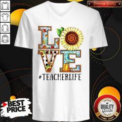 Love Sunflower #Teacherlife V-neck
