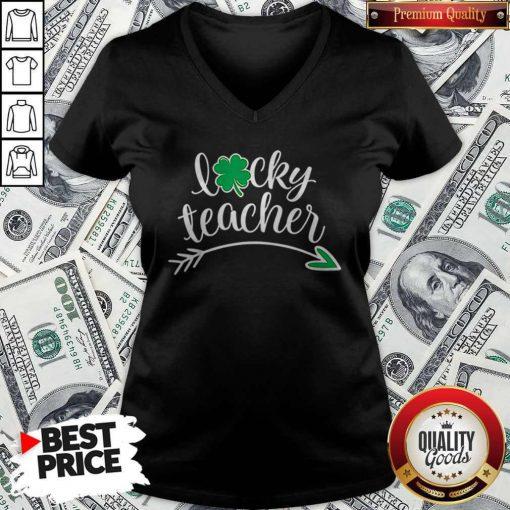 Lucky Teacher St Patricks Day Teachers Green Shamrock V-neck