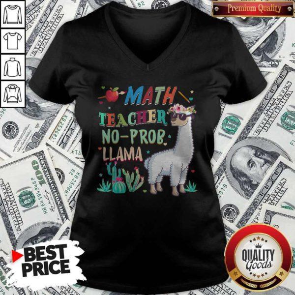 Math Teacher Shirt Llama Back To First Day Of School Gift T V-neck