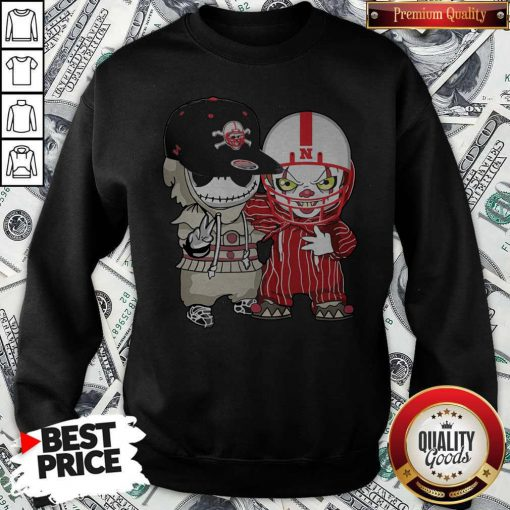 Nebraska Cornhuskers Football Jack Skellington And Pennywise Sweatshirt