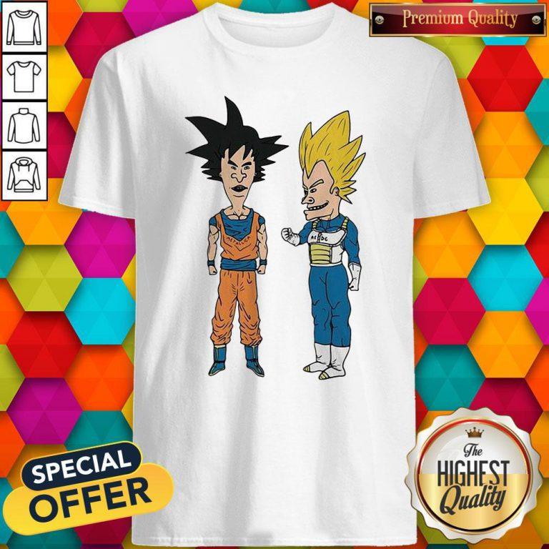Nice Metallic Son Goku And ACDC Vegeta Shirt