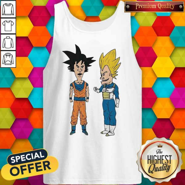 Nice Metallic Son Goku And ACDC Vegeta Tank Top