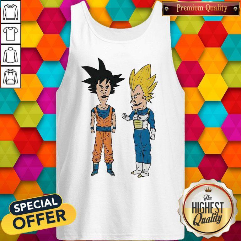 Nice Metallic Son Goku And ACDC Vegeta Tank Top
