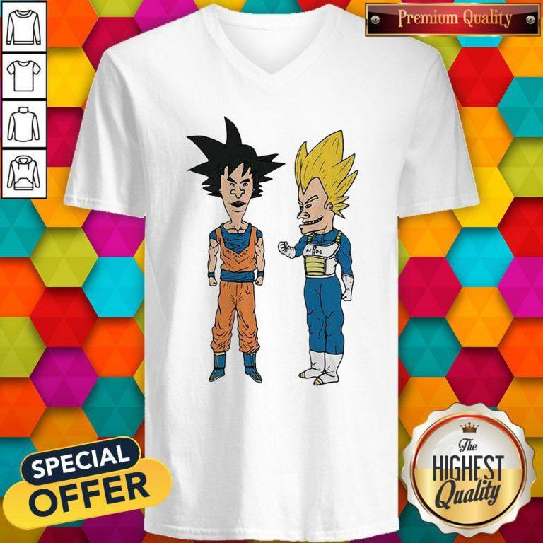 Nice Metallic Son Goku And ACDC Vegeta V-neckNice Metallic Son Goku And ACDC Vegeta V-neck