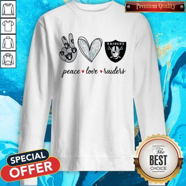 Nice Peace Love Raiders Diamond Sweatshirt