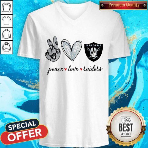 Nice Peace Love Raiders Diamond V-neck