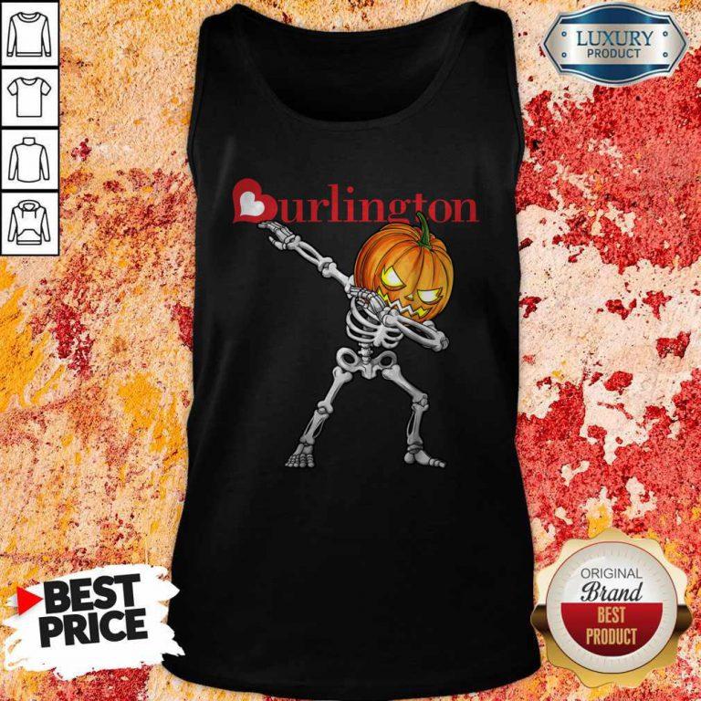 Nice Skeleton Dabbing Halloween Pumpkin Burlington Tank Top