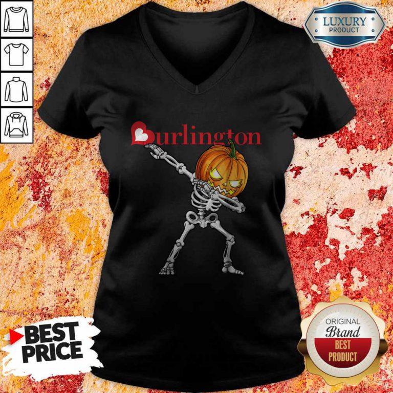 Nice Skeleton Dabbing Halloween Pumpkin Burlington V-neck