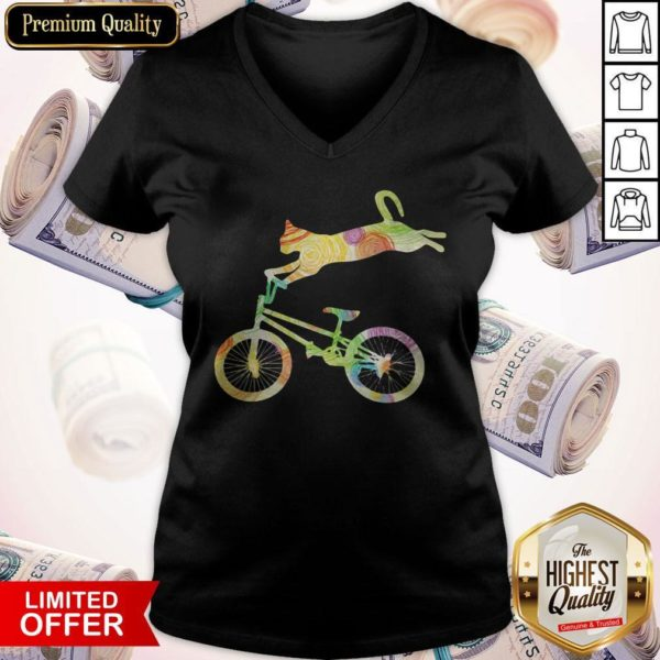 Official Cat Bicycle Motocross V-neck