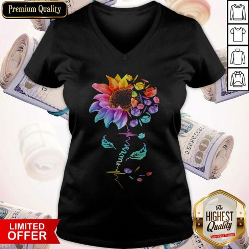 Official Nurse Colorful Sunflower V-neck