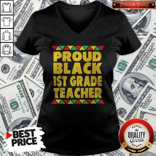 Official Proud Black 1st Grade Teacher V-neck