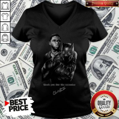 Rip Chadwick Boseman Black Panther 1977 2020 Thank You For The Memories Signature V-neck