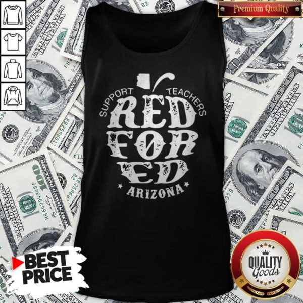 Support Teachers Apple Red For Ed Arizona Tank Top
