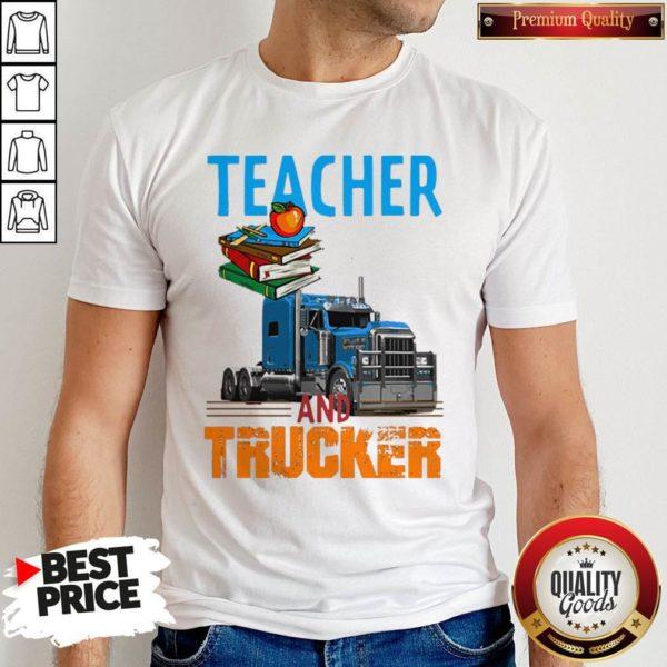 Teacher And Trucker Book Apple Shirt