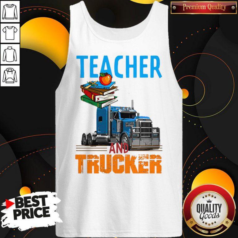 Teacher And Trucker Book Apple Tank Top