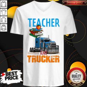 Teacher And Trucker Book Apple V-neck