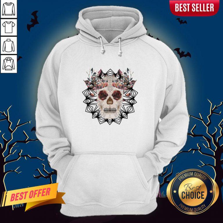 Autumn Gothic Sugar Skull With Mandala Roses Flowers Day Of Dead Dia De Los Muertos Hoodie