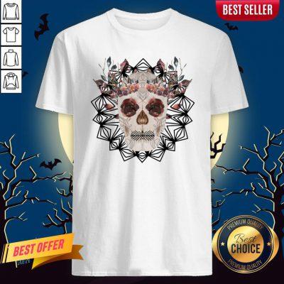 Autumn Gothic Sugar Skull With Mandala Roses Flowers Day Of Dead Dia De Los Muertos Shirt