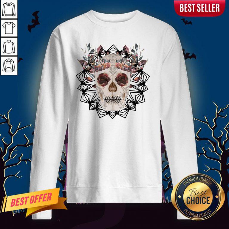 Autumn Gothic Sugar Skull With Mandala Roses Flowers Day Of Dead Dia De Los Muertos Sweatshirt