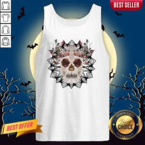 Autumn Gothic Sugar Skull With Mandala Roses Flowers Day Of Dead Dia De Los Muertos Tank Top
