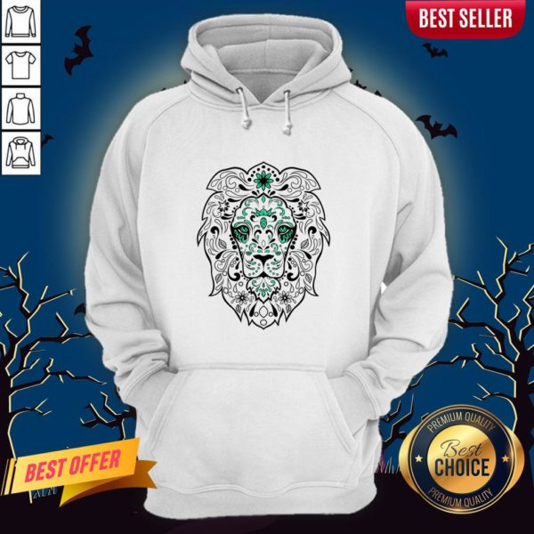 Black And Green Glitter Lion Sugar Skull Day Of The Dead Hoodie