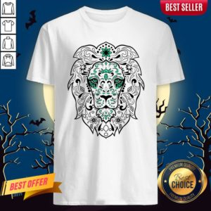 Black And Green Glitter Lion Sugar Skull Day Of The Dead Shirt