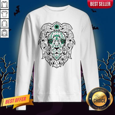 Black And Green Glitter Lion Sugar Skull Day Of The Dead Sweatshirt