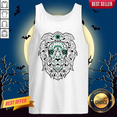 Black And Green Glitter Lion Sugar Skull Day Of The Dead Tank Top