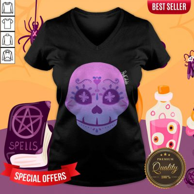 Cute Bi Sugar Skull Day Of The Dead Dia De Muertos V-neck