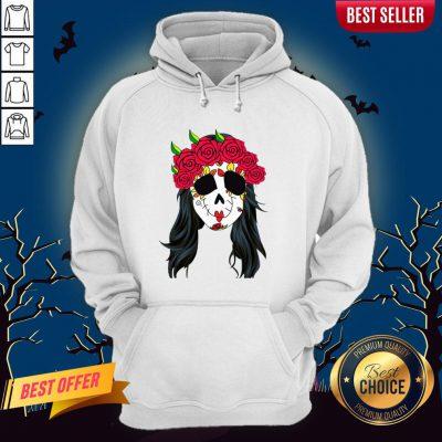 Day Of Dead Mask Lady Skull Halloween Muertos Hoodie