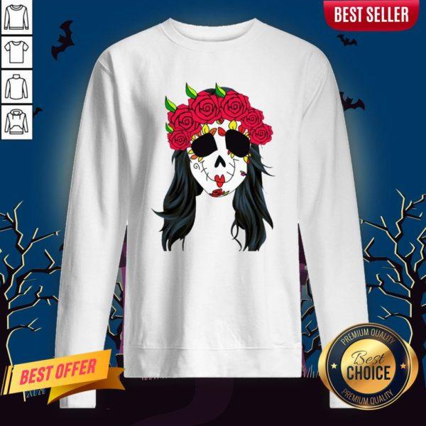 Day Of Dead Mask Lady Skull Halloween Muertos Sweatshirt