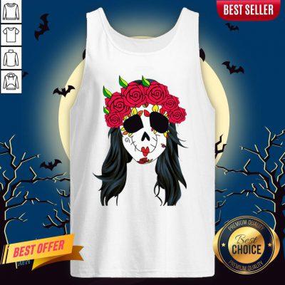 Day Of Dead Mask Lady Skull Halloween Muertos Tank Top