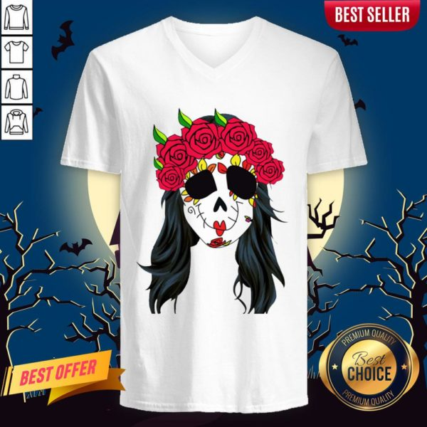 Day Of Dead Mask Lady Skull Halloween Muertos V-neck